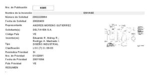 Patent Registration 9305 Packaging PDV